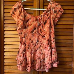 Plus size print blouse 2X